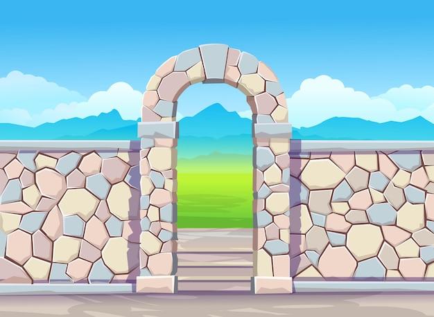 Muro di mattoni con arco della porta. parco in stile cartone animato