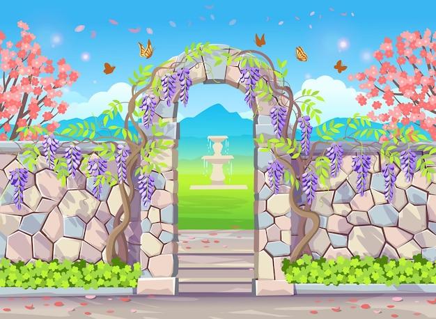Muro di mattoni con porta ad arco con glicine parco primaverile con alberi in fiore fontana farfalle e glicine