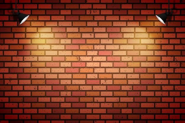 Muro di mattoni con faretti