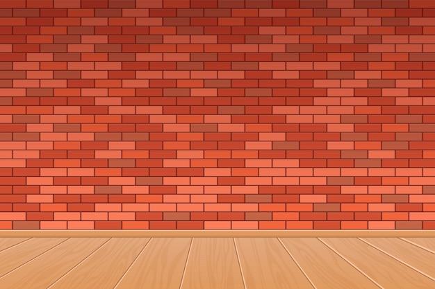 Illustrazione di progettazione di vettore del fondo del pavimento di legno e del muro di mattoni
