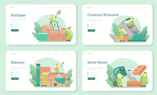 Banner web muratore o set di pagine di destinazione