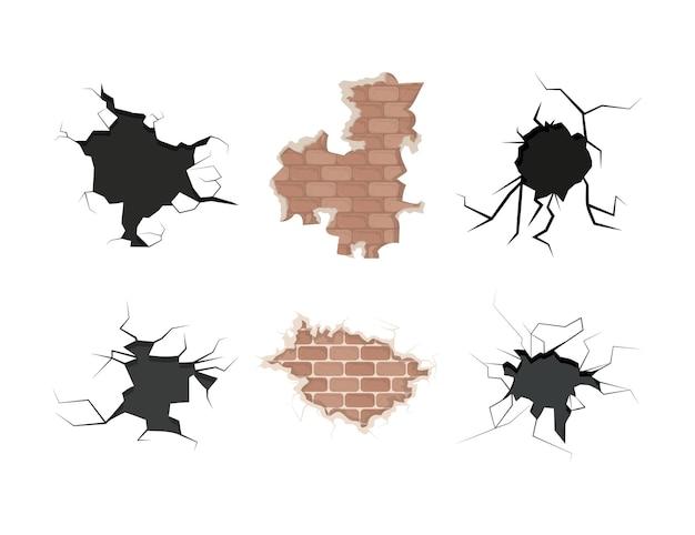 Muro di mattoni danneggiato