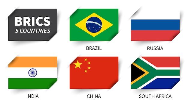 Brics. associazione di 5 paesi. disegno della bandiera di carta inserito. vettore.