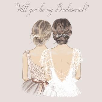 Sposa e damigella d'onore fianco a fianco, carta di invito a nozze.