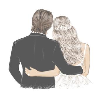 Bella coppia dello sposo e della sposa nel giorno delle nozze illustrazione disegnata a mano