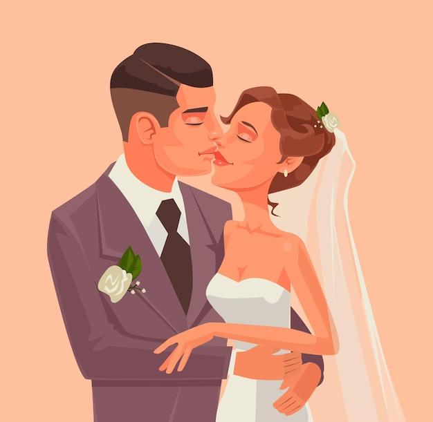 Abbraccio e bacio del carattere della sposa e dello sposo, illustrazione piana del fumetto