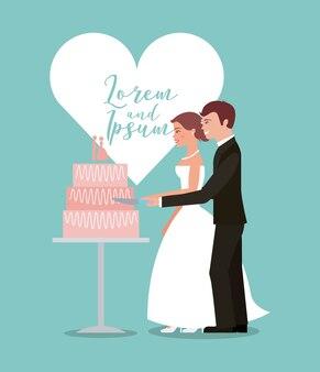 Sposa e sposo taglio biglietto di auguri torta nuziale