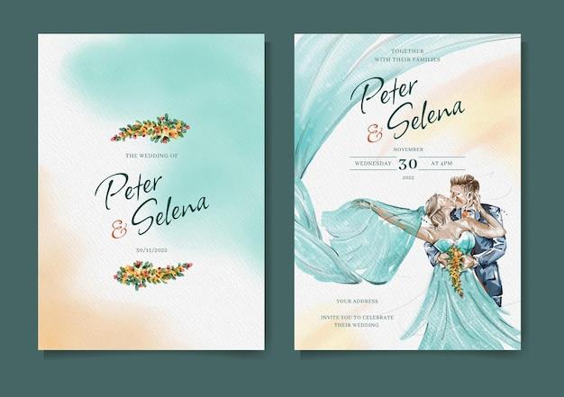 Insieme elegante dell'invito di nozze dell'acquerello della sposa e dello sposo vettore premium