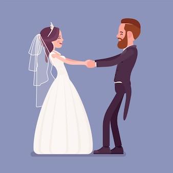 Sposa e sposo in un primo ballo sulla cerimonia di matrimonio