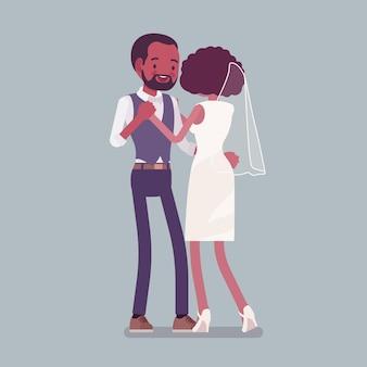 Sposa, sposo in un primo ballo sulla cerimonia di matrimonio