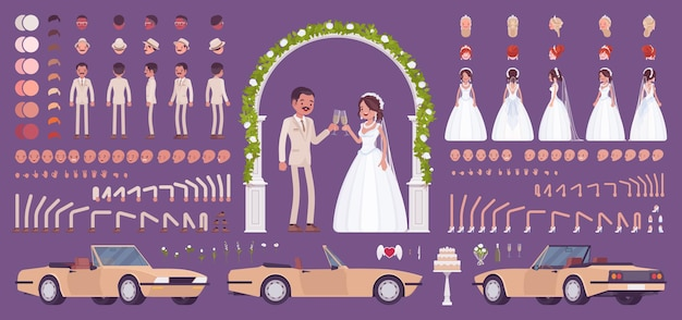 Sposa e sposo, coppia latinoamericana in una cerimonia di matrimonio