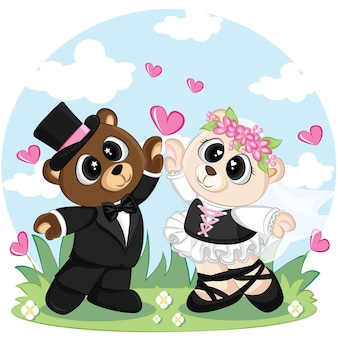 Orso sveglio delle coppie di nozze dello sposo e della sposa. orsi carini in abito da sposa e abito.