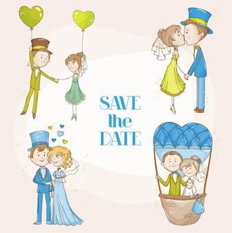 Insieme di doodle di nozze dello sposo e della sposa