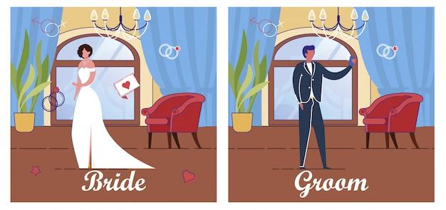 Sposa e sposo in abito e abito da festa di nozze.