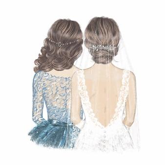 Sposa in velo e damigella d'onore. illustrazione disegnata a mano.