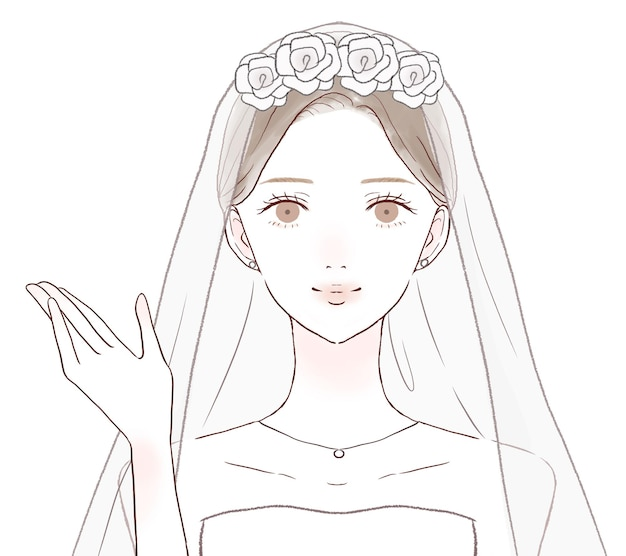 La sposa che è guidata con una mano tesa. su uno sfondo bianco.