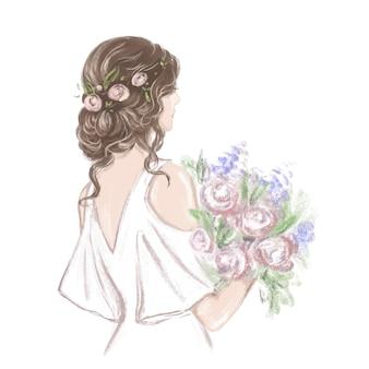 Sposa con illustrazione disegnata a mano bella acconciatura in classico stile vintage