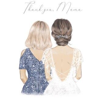 Sposa con sua madre fianco a fianco illustrazione disegnata a mano Vettore Premium