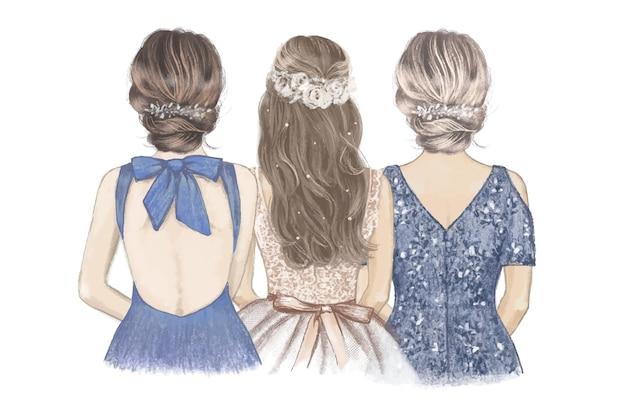 Sposa con la sorella e la mamma fianco a fianco. illustrazione disegnata a mano.