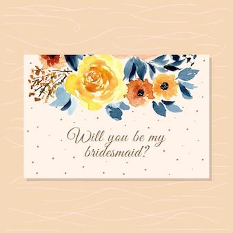 Carta damigella d'onore con acquerello abbastanza floreale