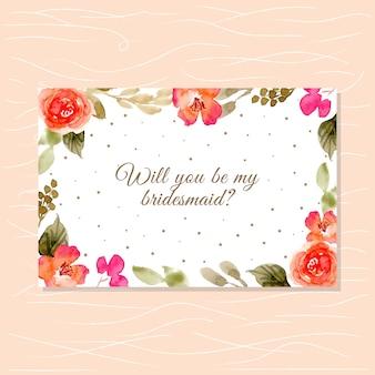 Carta damigella d'onore con una bella cornice floreale ad acquerello