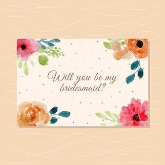Carta damigella d'onore con cornice floreale dell'acquerello