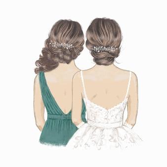 Illustrazione disegnata a mano della damigella d'onore o della sorella della sposa