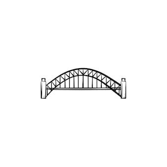 Icona di doodle di contorno disegnato a mano di ponte. costruzione di architettura, ponte della città e concetto di trasporto