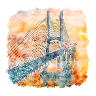 Illustrazione disegnata a mano di schizzo dell'acquerello di lisbona portogallo del ponte