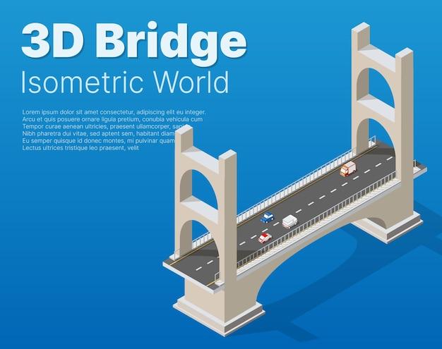 Il ponte delle infrastrutture urbane è isometrico per giochi, applicazioni di ispirazione e creatività. oggetti dell'organizzazione del trasporto urbano in forma dimensionale