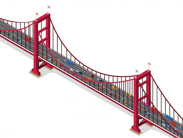 Ponte con traffico vista isometrica