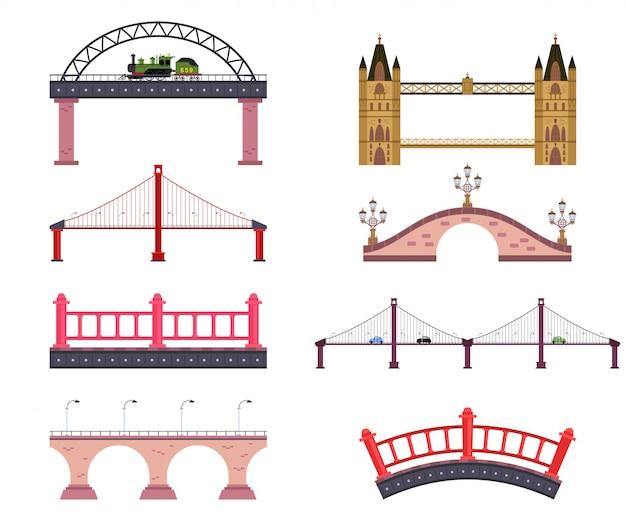 Insieme semplice piano del fumetto di vettore dei ponti isolato