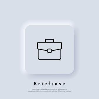 Icona di valigetta. simbolo del caso. portafoglio. vettore. pulsante web dell'interfaccia utente di neumorphic ui ux bianco. neumorfismo