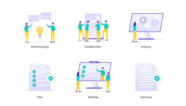 Briefing di business plan, collaborazione, brainstorming, meeting, comunicazione e pianificazione. breve illustrazione.
