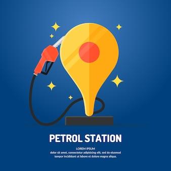 Manifesto pubblicitario luminoso sul tema della stazione di servizio. illustrazione.
