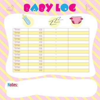 Diario del bambino luminoso - grafico del bambino per le mamme - vettoriale
