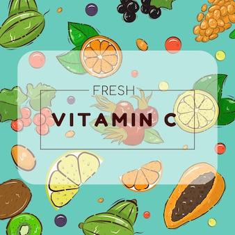 Modello di banner luminoso con frutti e bacche. illustrazione di riserva di vitamina c.