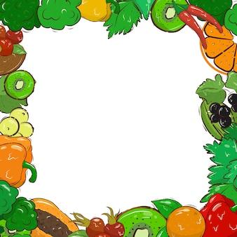 Modello di banner luminoso con verdure, frutta e bacche. vitamina c. biologico. cartolina. la cornice. spazio per il testo. illustrazione di riserva. vettore