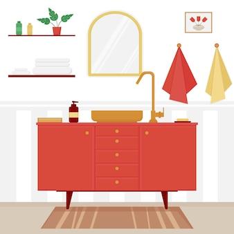Interno luminoso del bagno con il lavandino e lo specchio design piatto dell'illustrazione di vettore