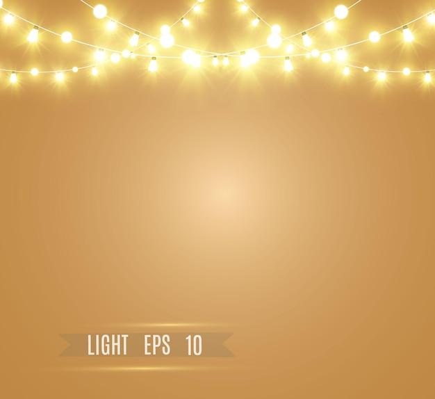 Luminose, bellissime luci. ghirlande di luci incandescenti.