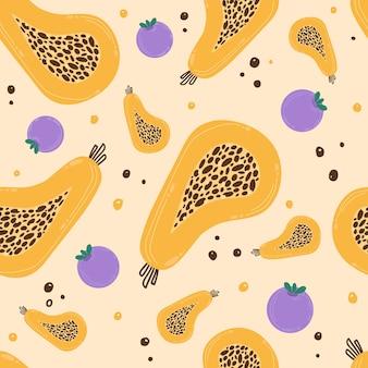 Modello luminoso e bello con frutti. illustrazione di papaia e mirtilli.
