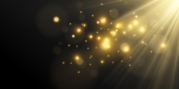 Belle scintille luminose su uno sfondo nero