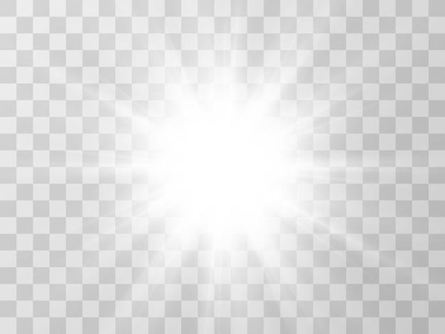 Bella stella luminosa di un effetto di luce su uno sfondo trasparente