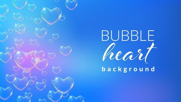 Sfondo blu brillante con bolle di sapone a forma di cuore color arcobaleno per il vettore di biglietto di san valentino