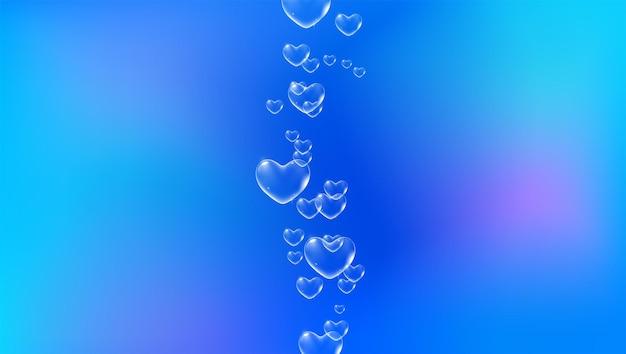 Sfondo blu brillante con bolle di sapone a forma di cuore di colore bianco per il vettore di biglietto di san valentino