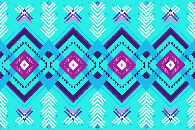 Design etnico tradizionale blu brillante geometrico orientale ikat senza cuciture per sfondo, moquette, sfondo carta da parati, abbigliamento, avvolgimento, batik, tessuto. stile di ricamo. vettore
