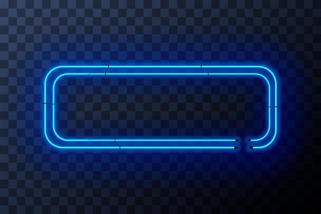 Cornice rettangolare al neon blu brillante su sfondo trasparente