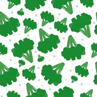 Modello senza cuciture di broccoli luminosi. infiorescenze di cavolo cappuccio di diverse dimensioni. verdura verde e matura. stampa per il design dell'imballaggio. stampa su carta digitale, packaging. illustrazione vettoriale, piatto