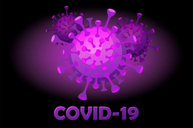 Fumetto luminoso covid-19 viola e l'iscrizione. epidemia di malattia da coronavirus.