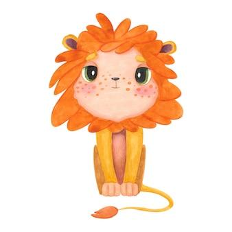 Cucciolo di leone del carattere dell'acquerello brillante e dei cartoni animati